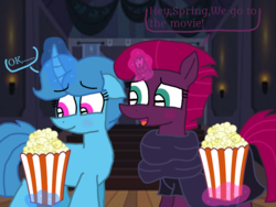 Size: 1440x1080 | Tagged: artist:徐詩珮, blushing, broken horn, clothes, cute, dialogue, female, fizzlepop berrytwist, food, horn, lesbian, magic, mare, popcorn, safe, scarf, shipping, simple background, spoiler:s09e24, spoiler:s09e25, springbetes, spring rain, springshadow, tempestbetes, tempest shadow, the ending of the end, transparent background, unicorn, vector