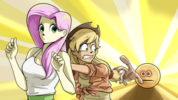 Size: 5120x2880 | Tagged: applejack, artist:chopchopguy, cursed image, emoji, equestria girls, fluttershy, hand, it's coming right at us, running, safe, vibe check, wat