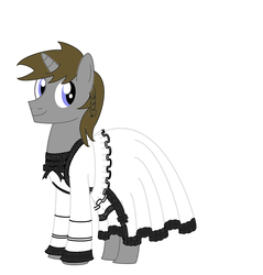 Size: 1600x1672 | Tagged: safe, artist:nittany discord, oc, oc:disty, pony, unicorn, bow, clothes, crossdressing, dress, frilly dress, gothic lolita, looking at you, male, smiling, stallion