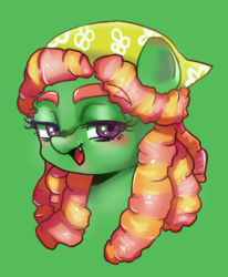Size: 723x879 | Tagged: artist:noumiso, blushing, bust, cute, cute little fangs, eyebrows visible through hair, fangs, female, green background, lidded eyes, mare, open mouth, pixiv, pony, portrait, safe, simple background, solo, tree hugger