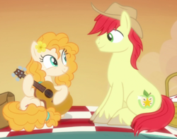 Size: 1030x812 | Tagged: basket, bright mac, cropped, guitar, hat, musical instrument, pear butter, picnic basket, picnic blanket, safe, screencap, the perfect pear