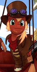 Size: 294x566 | Tagged: safe, brumby cloverpatch, earth pony, pony, daring do adventure collection, daring do and the forbidden city of clouds, book, clothes, goggles, hat, male, solo, stallion