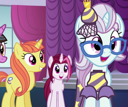 Size: 1284x1080 | Tagged: canterlot boutique, cayenne, citrus blush, clothes, cropped, dress, in-spire-ation, lily love, north point, safe, screencap