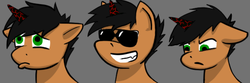 Size: 600x200 | Tagged: artist:leishycat, aviator glasses, broken horn, commission, emotes, frown, grin, horn, male, oc, oc only, pony, pouting, safe, smiling, stallion, sunglasses, unicorn