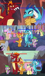 Size: 1280x2160 | Tagged: safe, edit, edited screencap, screencap, auburn vision, berry blend, berry bliss, fluttershy, garble, huckleberry, princess ember, smolder, spike, strawberry scoop, summer breeze, summer meadow, dragon, gauntlet of fire, school daze, sweet and smoky, spoiler:s09e09, animation error, comparison, friendship student, great moments in animation, height difference