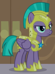 Size: 390x525 | Tagged: cropped, disguise, disguised changeling, hoof shoes, pegasus, pony, queen chrysalis, royal guard, safe, screencap, solo, spoiler:s09e17, the summer sun setback