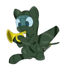 Size: 1500x1800 | Tagged: safe, artist:torcuil, oc, original species, plane pony, pony, musical instrument, plane, plone, solo, stuka, trumpet