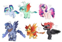 Size: 1890x1302 | Tagged: safe, artist:unoriginai, oc, oc only, alicorn, deer, dragon, hybrid, kirin, pegasus, phoenix, pony, reindeer, unicorn, zebra, zebroid, zony, alicorn oc, brain, crack ship offspring, curved horn, cute, dragon hybrid, horn, interspecies offspring, kirin hybrid, magical gay spawn, magical lesbian spawn, next generation, offspring, parent:alice the reindeer, parent:autumn blaze, parent:bon bon, parent:king sombra, parent:philomena, parent:princess cadance, parent:princess ember, parent:princess luna, parent:queen parabola, parent:rainbow dash, parent:shining armor, parent:strife, parents:shiningdash, reindeer hybrid, skull, unshorn fetlocks