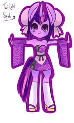 Size: 1500x2500   Tagged: safe, artist:kronilix, twilight sparkle, anthro, alternate hairstyle, big ears, choker, clothes, cute, female, geta, hair accessory, sandals, simple background, socks, solo, strapless, twiabetes, white background