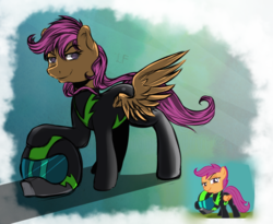 Size: 853x700 | Tagged: safe, artist:lucky-fly, artist:redheadfly, scootaloo, pegasus, pony, the washouts (episode), clothes, simple background, transparent background, uniform, washouts uniform