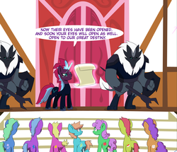Size: 3242x2784 | Tagged: safe, artist:chedx, tempest shadow, earth pony, pony, unicorn, comic:kingdom fall, alternate history, crystal of light, female, general tempest shadow, mare, parallel universe, ponyville, ponyville town hall, royal decree, scared, scroll, storm guard, worried