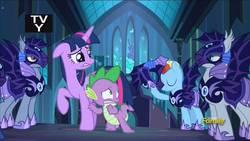 Size: 1280x720 | Tagged: safe, screencap, spike, twilight sparkle, alicorn, bat pony, dragon, pegasus, pony, the cutie re-mark, alternate timeline, night guard, night guard dash, nightmare takeover timeline, thumbnail, twilight sparkle (alicorn), youtube link