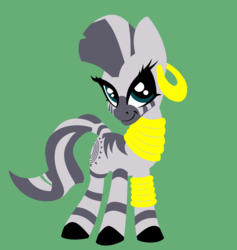 Size: 2776x2928 | Tagged: safe, artist:azdaracylius, zecora, zebra, colored hooves, cute, ear piercing, earring, female, green background, high res, jewelry, mare, neck rings, piercing, simple background, smiling, solo, zecorable