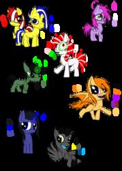 Size: 1000x1400 | Tagged: safe, artist:didun850, oc, oc only, oc:elude, oc:hazy sight, bat pony, earth pony, pegasus, pony, unicorn, bat pony oc, colt, eye clipping through hair, female, filly, glowing horn, horn, male, messy mane, simple background, smiling, transparent background, twins, walking
