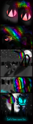 Size: 1200x4400 | Tagged: artist:didun850, comic:ask chase the pony, earth pony, full moon, glowing eyes, hair over one eye, heterochromia, male, moon, night, oc, oc:chase, oc only, pony, running, safe, scared, shadow pony, slit eyes, stallion, stars