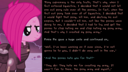 Size: 3000x1688 | Tagged: alternate timeline, crystal war timeline, implied king sombra, inverted mouth, pinkie pie, pony supremacy, safe, talk to transformer, text, wall of text, war