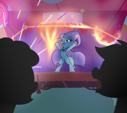Size: 4096x3672 | Tagged: armpits, artist:wenni, bipedal, boast busters, female, fire, fireworks, mare, pony, safe, scene interpretation, series:pony re-watch, silhouette, solo focus, trixie, underhoof, unicorn