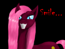 Size: 1600x1200 | Tagged: safe, artist:auroraswirls, pinkie pie, earth pony, pony, black background, female, grin, mare, nightmare pinkie, nightmarified, pinkamena diane pie, simple background, smiling, solo, speech