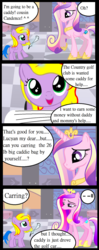 Size: 720x1823 | Tagged: safe, alternate version, artist:avchonline, princess cadance, oc, oc:princess lucyan, alicorn, pony, alicorn oc, comic, dialogue, female, filly, frown, glowing horn, hoof shoes, horn, looking up, magic, mare, smiling, telekinesis