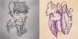 Size: 1265x636 | Tagged: artist:softsugar, bow, bust, clothes, duo, eye clipping through hair, female, hair bow, lineart, male, mare, oc, oc only, oc:sugar moon, pegasus, pony, safe, scarf, stallion, traditional art, unicorn