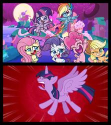 Size: 640x720 | Tagged: safe, artist:cartoonmasterv3, edit, screencap, applejack, fluttershy, pinkie pie, rainbow dash, rarity, twilight sparkle, alicorn, earth pony, pegasus, pony, unicorn, horse play, my little pony: pony life, angry, female, horn, mane six, mare, speed lines, twilight sparkle (alicorn), wings