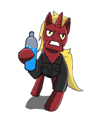 Size: 1536x2048 | Tagged: angry, artist:samoht-lion, bottle, clothes, gritted teeth, hoof hold, male, oc, oc:firebrand, oc only, pony, safe, simple background, solo, stallion, unicorn, white background
