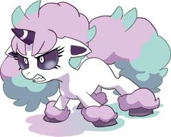 Size: 727x583   Tagged: safe, artist:nezumi, galarian ponyta, pony, ponyta, unicorn, angry, barely pony related, female, gritted teeth, pokémon, ponified, solo