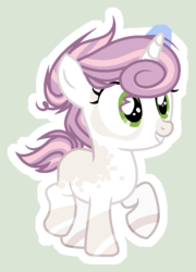 Size: 645x898 | Tagged: artist:starling-sentry-yt, base used, female, filly, oc, offspring, parent:pipsqueak, parents:sweetiesqueak, parent:sweetie belle, pony, safe, simple background, solo, unicorn, white outline