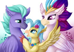 Size: 1063x752 | Tagged: safe, artist:julunis14, princess skystar, queen novo, seaspray, classical hippogriff, hippogriff, my little pony: the movie, beautiful, claws, cute, ear fluff, eyeshadow, female, flower, flower in hair, folded wings, happy, implied father, implied father and daughter, lidded eyes, makeup, male, mother and child, mother and daughter, shell necklace, shipping, simple background, skyabetes, spread wings, straight, talons, trio, wings, young