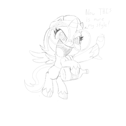 Size: 1920x1920 | Tagged: artist needed, safe, oc, oc only, oc:nyx, alicorn, pony, my little pony: pony life, alicorn oc, clothes, glass, glasses, headband, monochrome, out of character, solo, traditional art, vest, wine glass