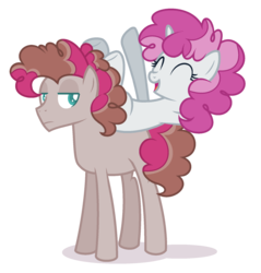 Size: 1784x1864 | Tagged: safe, artist:browniepawyt, oc, oc only, oc:poppy sprinkle, earth pony, pony, unicorn, female, half-siblings, male, mare, offspring, parent:mud briar, parent:party favor, parent:pinkie pie, parents:partypie, parents:pinkiebriar, stallion