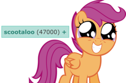 Size: 1550x1020 | Tagged: artist:thumperlikestoast, cute, cutealoo, derpibooru, edit, meta, milestone, pegasus, safe, scootaloo, simple background, solo, squee, tags, transparent background, twilight time, vector