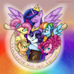 Size: 4096x4096 | Tagged: absurd resolution, alicorn, applejack, artist:darklight1315, book, earth pony, female, fluttershy, group, mane six, mare, older, older applejack, older fluttershy, older mane 6, older pinkie pie, older rainbow dash, older rarity, older twilight, pegasus, pinkie pie, pony, rainbow dash, rarity, safe, spoiler:s09, spoiler:s09e26, the last problem, twilight sparkle, twilight sparkle (alicorn), unicorn
