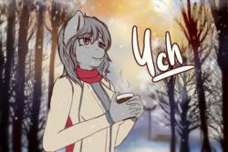 Size: 1440x960 | Tagged: advertisement, anthro, artist:mintjuice, clothes, coffee mug, commission, female, mug, park, safe, smiling, snow, snowfall, solo, tree, your character here