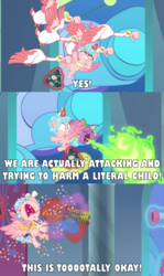 Size: 2000x3363 | Tagged: safe, edit, edited screencap, screencap, cozy glow, pinkie pie, spike, alicorn, bird, dragon, goose, pony, the ending of the end, alicornified, bell, canterlot castle, caption, child, comic, confetti, cozy glow drama, cozybuse, cozycorn, eyes closed, female, filly, fire, flying, glowing horn, grogar's bell, horn, image macro, magic, magic aura, meme, op is a duck, op is trying to start shit, party bazooka, party cannon, race swap, screencap comic, stained glass, stained glass window, telekinesis, text, wings