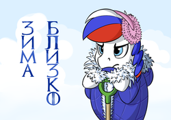 Size: 1000x700 | Tagged: safe, artist:fynjy-87, oc, oc only, oc:marussia, earth pony, pony, cyrillic, female, mare, nation ponies, russia, russian, solo, winter is coming
