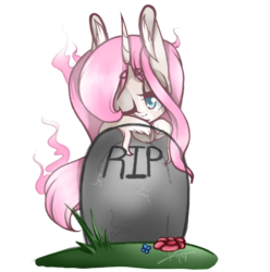 Size: 1070x1080 | Tagged: safe, artist:kaywhitt, oc, oc only, oc:tarot, classical unicorn, ghost, ghost pony, pony, unicorn, big ears, cloven hooves, cute, dead, female, floppy ears, flower, grass, grave, gravestone, graveyard, horn, leonine tail, mare, melancholy, one eye closed, rest in peace, simple background, solo, transparent background, unshorn fetlocks