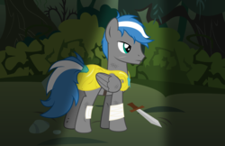 Size: 8500x5500 | Tagged: absurd resolution, armor, artist:northernthestar, bandage, male, oc, oc:cloud zapper, pegasus, pony, royal guard armor, safe, solo, stallion, sword, weapon