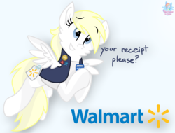 Size: 1571x1192   Tagged: safe, artist:rainbow eevee, oc, oc:aryanne, pegasus, pony, aryan, aryan pony, blonde, clothes, cute, dialogue, eyebrows visible through hair, female, logo, name tag, nazipone, ponified, race swap, simple background, solo, too real, vest, walmart