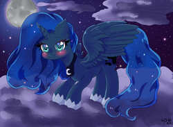 Size: 1200x876 | Tagged: safe, artist:perlshow, princess luna, alicorn, pony, blushing, cloud, cute, female, full moon, looking at you, lunabetes, mare, moon, night, on a cloud, sky, smiling, solo, spread wings, standing, wings