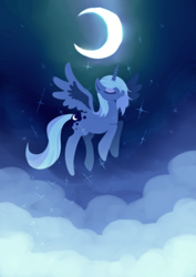 Size: 2150x3035 | Tagged: safe, artist:tan_fantazma, princess luna, alicorn, pony, cloud, crescent moon, eyes closed, female, flying, high res, mare, moon, night, pixiv, s1 luna, sky, solo, spread wings, stars, wings