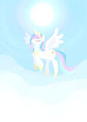 Size: 2150x3035   Tagged: safe, artist:tan_fantazma, princess celestia, alicorn, pony, cloud, eyes closed, female, flying, high res, mare, pixiv, sky, solo, spread wings, sun, wings