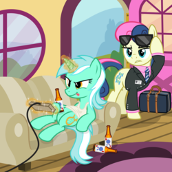 Size: 3200x3200 | Tagged: alcohol, artist:cheezedoodle96, beer, beer bottle, bon bon, bon bon is not amused, briefcase, clothes, concentrating, couch, earth pony, female, get a job, glowing horn, horn, lazy, lesbian, lyrabon, lyra heartstrings, magic, mare, married couple, married life, necktie, nintendo entertainment system, pabst blue ribbon, pony, ponyville, rug, safe, secret agent sweetie drops, shipping, shirt, show accurate, sitting, s.m.i.l.e., suit, sunglasses, svg, .svg available, sweetie drops, tanktop, telekinesis, tongue out, unamused, unicorn, vector, video game, window