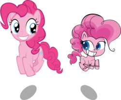 Size: 9000x7406 | Tagged: safe, artist:mrkat7214, pinkie pie, earth pony, pony, my little pony: pony life, absurd resolution, cute, diapinkes, duo, g4, generational ponidox, grin, looking at each other, pronking, self ponidox, simple background, smiling, transparent background, unshorn fetlocks, vector