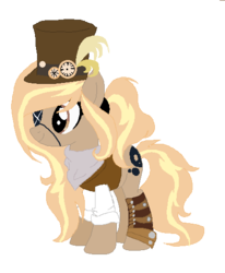 Size: 424x514 | Tagged: artist:kremciakay, bandana, boots, clothes, earth pony, eyepatch, feather, female, hat, mare, oc, oc:debonair, oc only, pony, safe, shirt, shoes, simple background, solo, steampunk, stopwatch, top hat, transparent background, vest