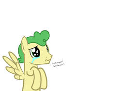 Size: 878x660 | Tagged: safe, artist:robloxiangriffinpony, huckleberry, pegasus, pony, crying, cute, daaaaaaaaaaaw, friendship student, male, puppy dog eyes, solo, stallion, whimpering