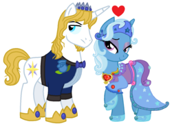 Size: 1164x856 | Tagged: alternate hairstyle, artist:starryoak, bluetrix, clothes, crown, edit, female, heart, jewelry, king and queen, male, mare, older, pony, prince blueblood, regalia, safe, shipping, simple background, stallion, straight, trixie, unicorn, white background