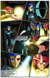 Size: 2331x3600   Tagged: safe, artist:artemis-polara, flash sentry, sunset shimmer, comic:a battle to save a possessed soul, equestria girls, arm cannon, armor, armpits, aura, badass, beam, blade, bleeding, blocking, blood, breasts, cleavage, clothes, comic, commission, corrupted, danger, dark samus, daydream shimmer, defending, destruction, devastation, dress, energy sword, energy weapon, explosion, falling, fear, female, fight, forest, guarding, horn, injured, magic, male, metroid, night, pain, phazon, possessed, red eye, scared, serious, serious face, shocked expression, tree, weapon