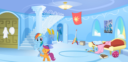 Size: 3080x1500 | Tagged: safe, rainbow dash, scootaloo, pegasus, pony, blank flank, collar, duo, female, filly, leash, mare, pet play, pony pet, rainbow dash's house, scootalove, wonderbolts poster