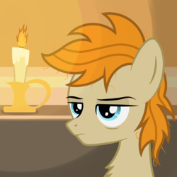 Size: 2500x2500 | Tagged: artist:pizzamovies, bags under eyes, bust, candle, earth pony, fire, male, oc, oc:pizzamovies, pony, safe, solo, stallion
